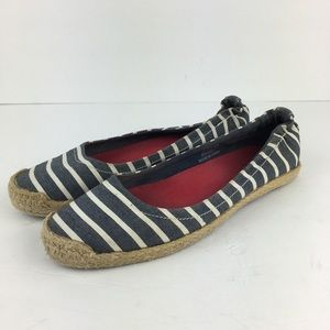 Sperry Top Sider Striped Blue/White Slip On Shoes